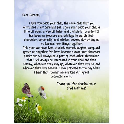 Thank You Letter To From Parent End Of The Year Sles End Of The Year Letter To Parents Editable
