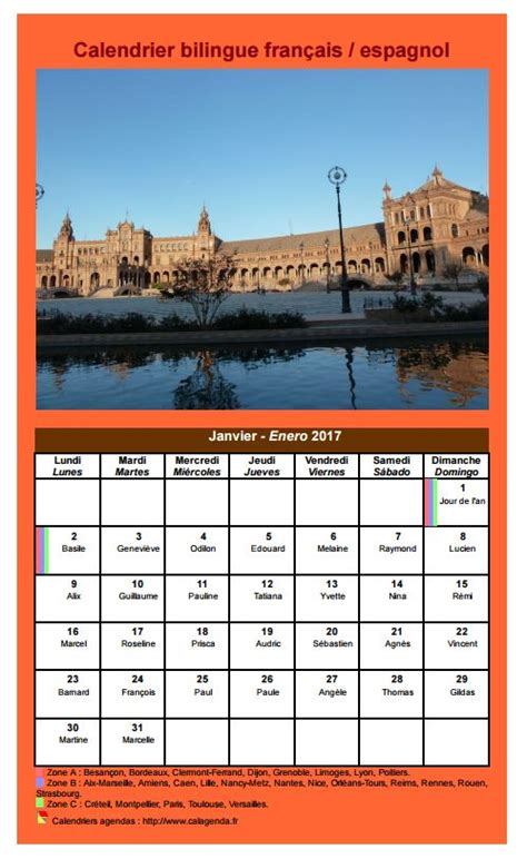 Calendrier 2017 En Francais Calendrier Mensuel 2017 Bilingue Fran 231 Ais Espagnol