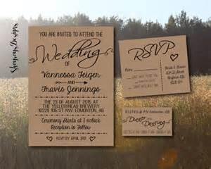 country wedding invitation kits kraft wedding invitation kit rustic wedding by shayraysdesigns