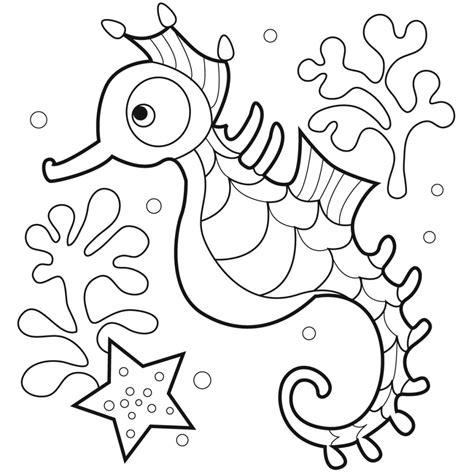 printable kids coloring pages free printable seahorse coloring pages for kids