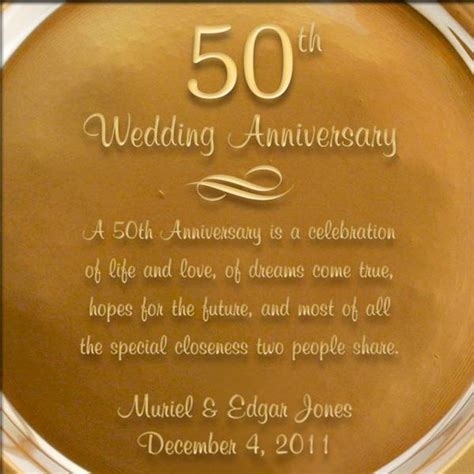 Wedding Anniversary Engraved Gifts by Personalized Gold Glass 50th Anniversary Plate