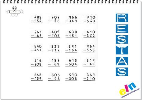 imagenes matematicas primaria fichas de matem 225 ticas las restas escuela en la nube