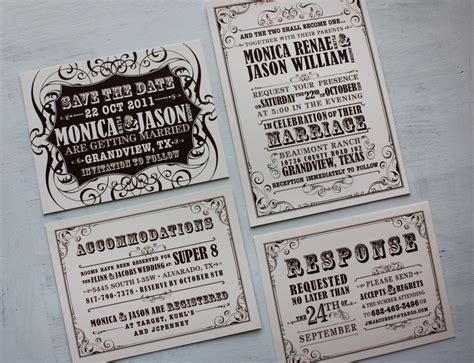 style wedding invites brown vintage poster style wedding invitations