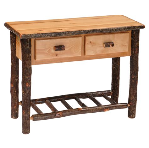cottage sofa table cottage hickory 2 drawer sofa table rustic furniture