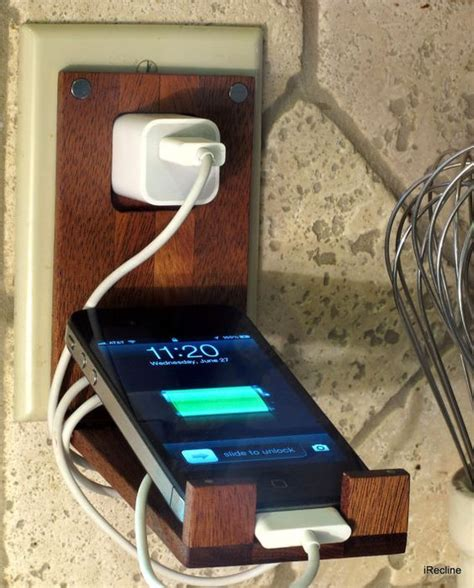 wooden socket holder charger holder charger and iphone on