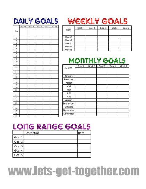 year goal setting tips printable