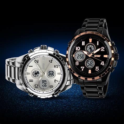 Jam Tangan Pria Quartz Led Tahan Air 30m Weide Wh5206 Stainless Steel skmei jam tangan analog digital pria ad1021 golden