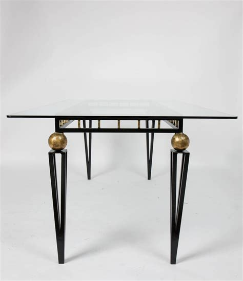 glass top iron dining table vintage forged iron and glass dining table at 1stdibs