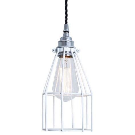 White Industrial Pendant Light Vintage Industial Factory Cage Ceiling Pendant Light In White Finish