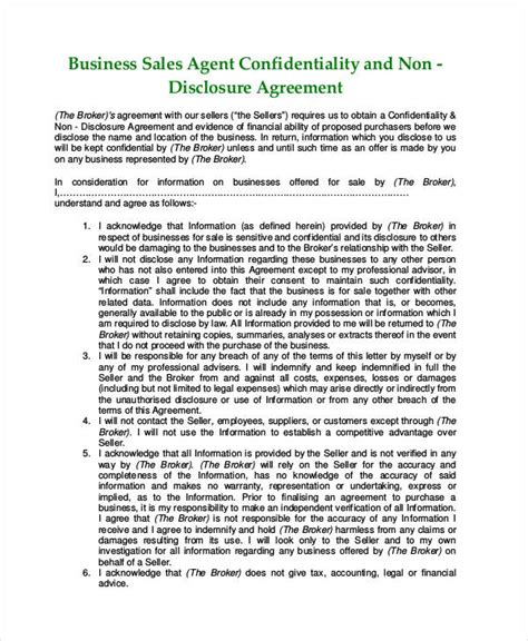 Non Disclosure And Non Compete Agreement Template U0026 Sle Form Non Disclosure Agreement Business Sale Confidentiality Agreement Template