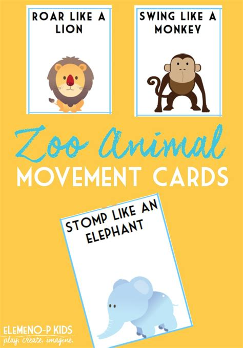 printable animal movement cards zoo animal movement cards elemeno p kids
