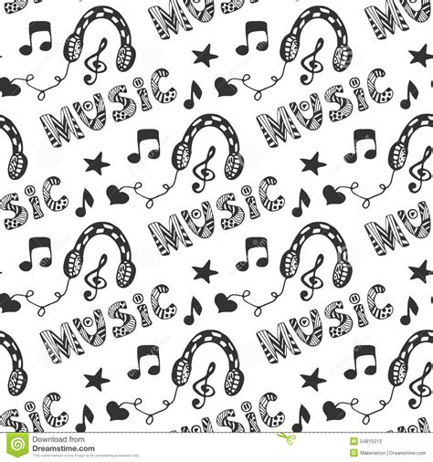 doodle less pool musicas seamless pattern with headphones and