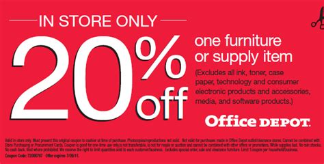 20 one furniture or supply item coupon at office