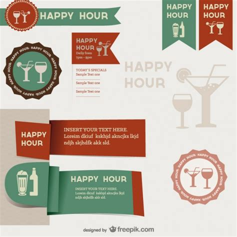 Origami Happy Hour - happy hour labels vector free