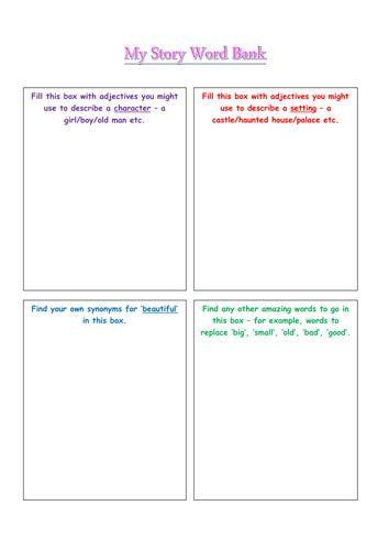 story word bank template for thesaurus synonym activity by