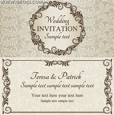 invitation illustrator template vector wedding invitation design template eps