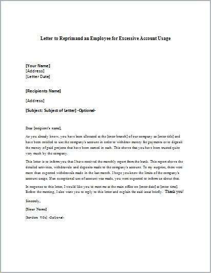 reprimand letter format 28 images employee write up