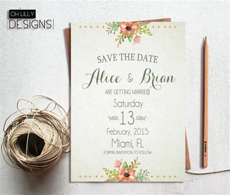 digital wedding invitation cards free rustic save the date printable save the date floral save