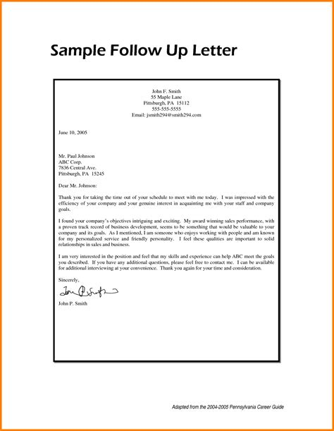 up letter follow up letter exles best letter sle