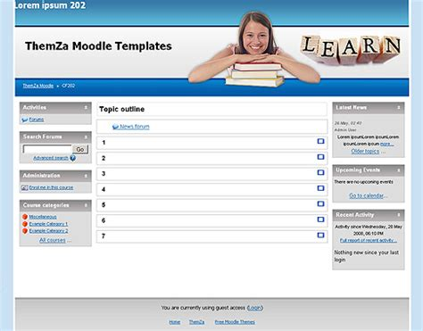 moodle course template free moodle themes ability to learn by themza