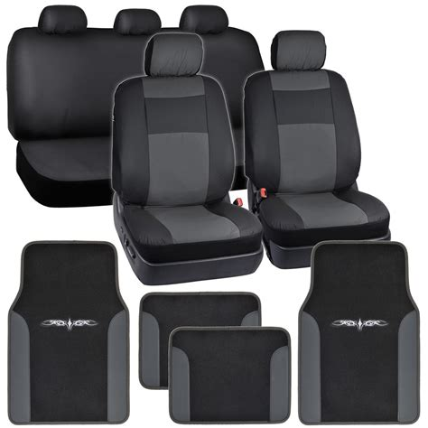 Car Mats For Seat by Synthetic Leather Car Seat Covers Carpet Floor Mats Black