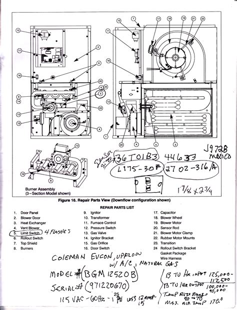 coleman furnace wiring diagram image gallery lennox furnace parts