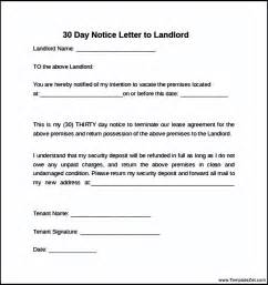 How To Write A Letter From Landlord To Tenant by 30 Day Notice Letter To Landlord Templatezet