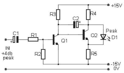 Mixer Audio Sederhana audio peak indicator circuit electronic circuit