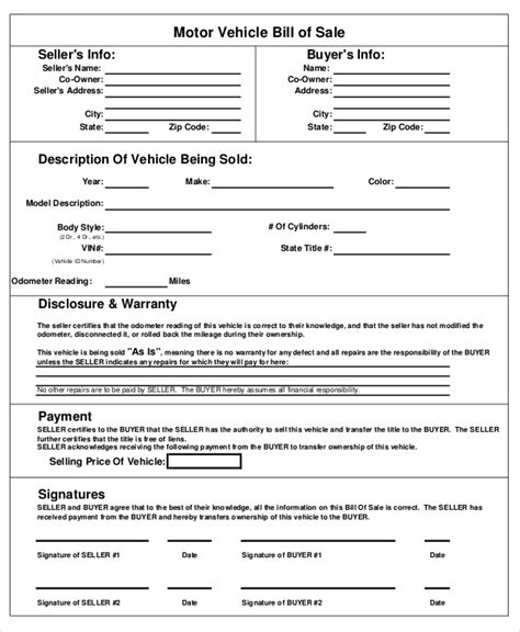 Motor Vehicle Form Template auto bill of sale 8 free word pdf documents