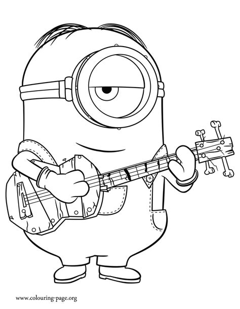coloring pages minion stuart minions stuart playing guitar coloring page