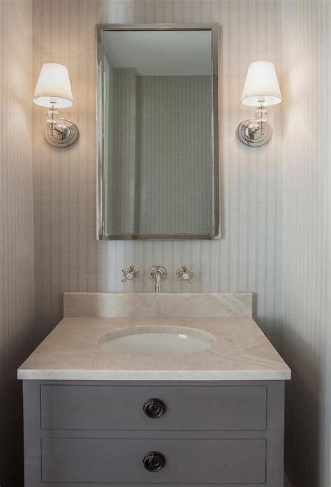 gray powder room  maison single vanity sink