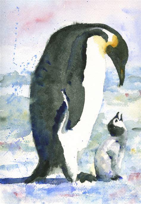 painting penguin original penguin painting watercolor of baby bird