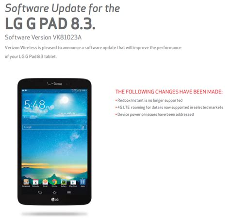how to update verizon roaming verizon s lg g pad 8 3 gets a small update to add lte