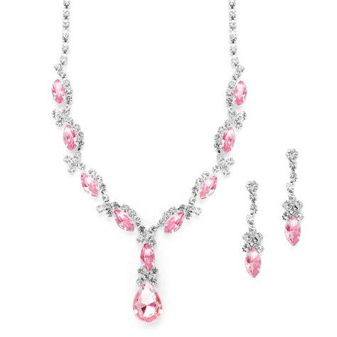Pink Crystal Rhinestone Necklace Set   Anywhere Hair & Make Up