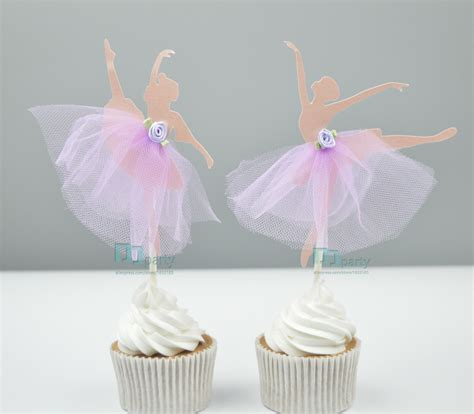Handmade Birthday Decorations - handmade ballerina ballet cupcake toppers picks