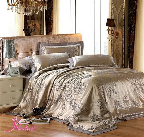Bed Linen Set Jacquard Luxury Bed Linen Tribute Silk Satin 4pcs Cotton Satin Bedding Set Comforter Set Duvet