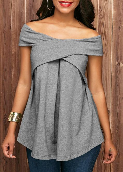 sleeve grey the shoulder blouse rosewe