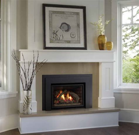 decoration chimney fireplace mantel with window glass