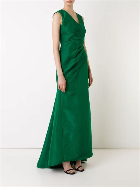 draped evening dress carolina herrera draped evening dress in green lyst