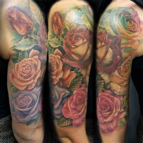 half sleeve rose tattoos beautiful colored flowers on half sleeve