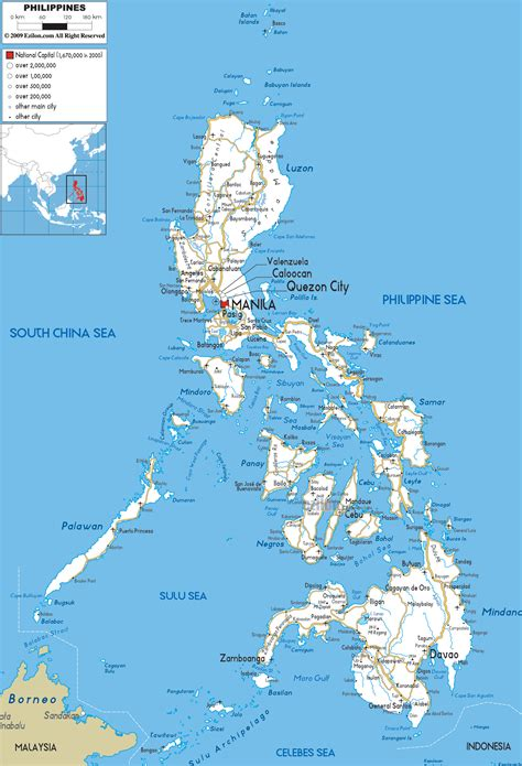 map of phillipines road map of philippines ezilon maps