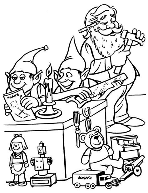 elves and santa christmas coloring pages for kids