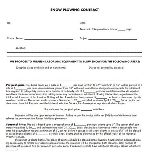 snow removal contract template snow plowing contract template 20 free word pdf