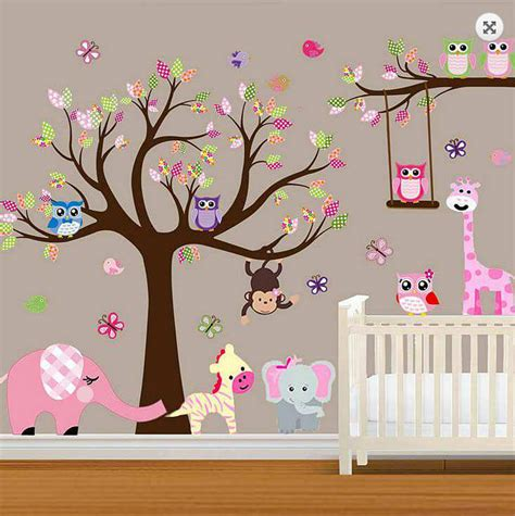 Large Baby Nursery Woodland Wall Decal Baby Girl Wall Decal Nursery Wall Decals For