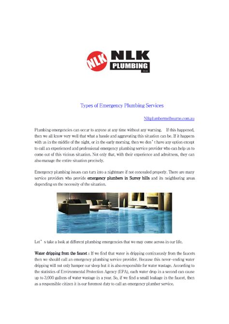 Types Of Plumbing Services by Types Of Emergency Plumbing Services Authorstream
