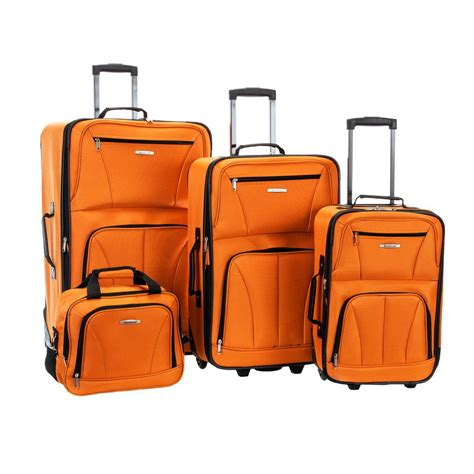 rockland 4 luggage set f32 orange the home depot