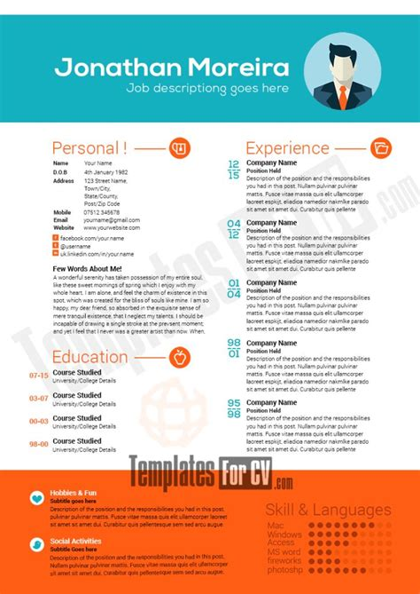professional cv template 4 free templates in pdf word