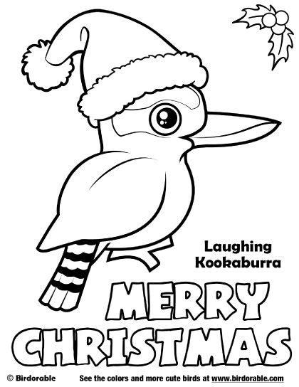 christmas bird coloring page birdorable laughing kookaburra merry christmas coloring