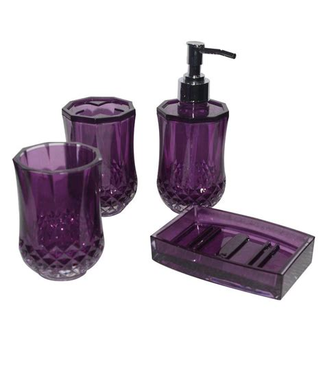 Bathroom Accessories Purple Universal Enterprises Acrylic Purple Bath Accessories Set Of 4 Buy Universal Enterprises