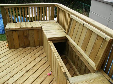 wood deck bench guide to get wood patio storage box plans ambla